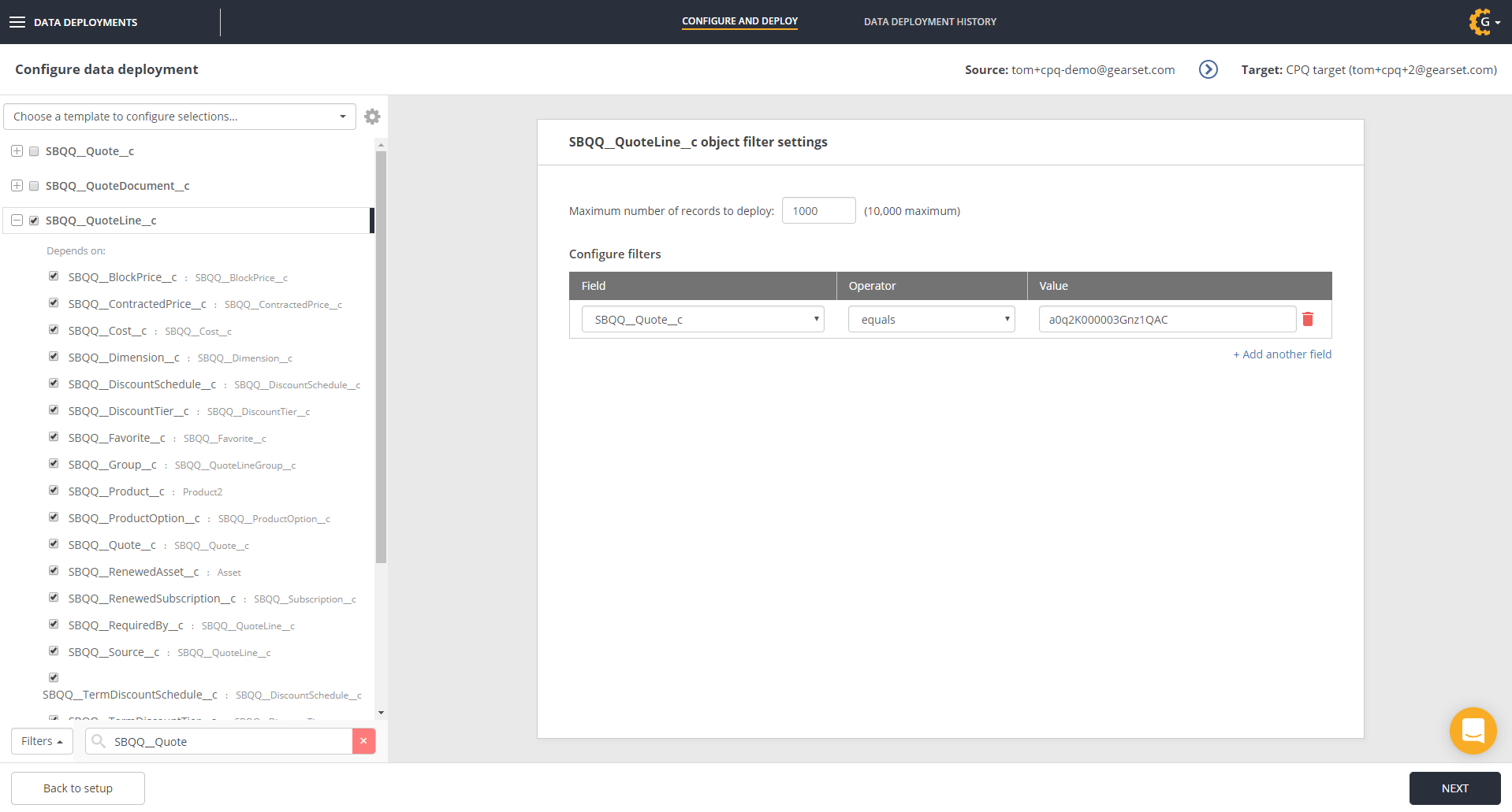 Select the quote line object for deployment