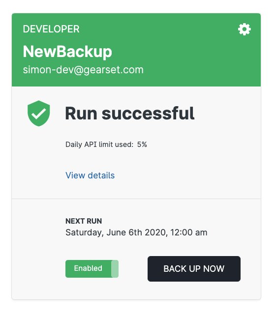 On-demand backup in Gearset with one click