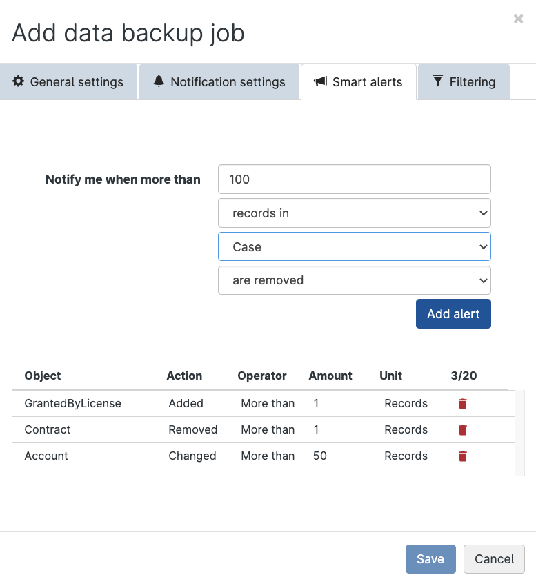 Configure smart alerts for backup data in Gearset