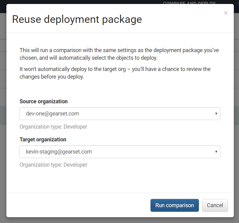 Gearset allows you to easily select new orgs to create a package between