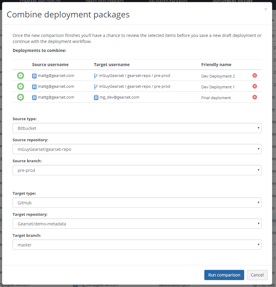 Choose the source and target destination of your new combined deployment package.