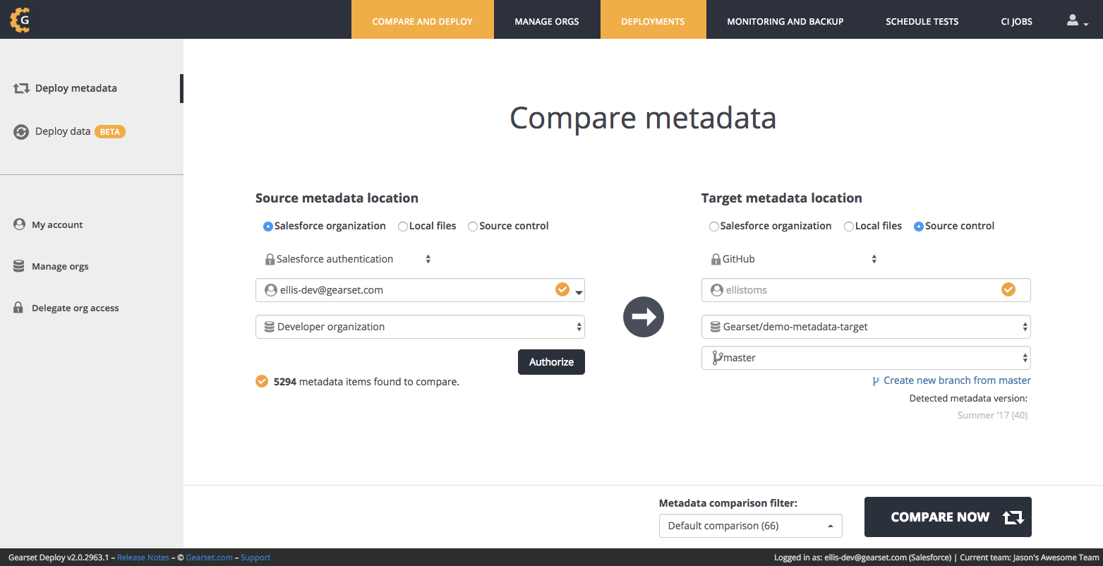 Select source control as your target metadata location and pick a repository to connect