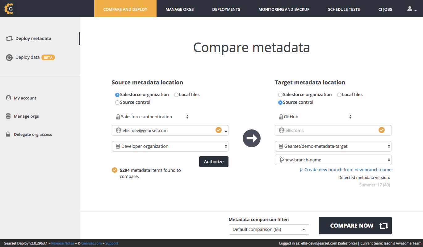 You can now run a comparison to your new branch