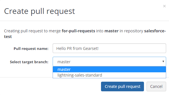 Give your pull request a name, and select the target branch