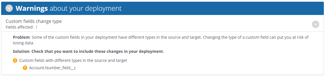 Analysis results page showing a warning when a custom field has a different type in the source and target