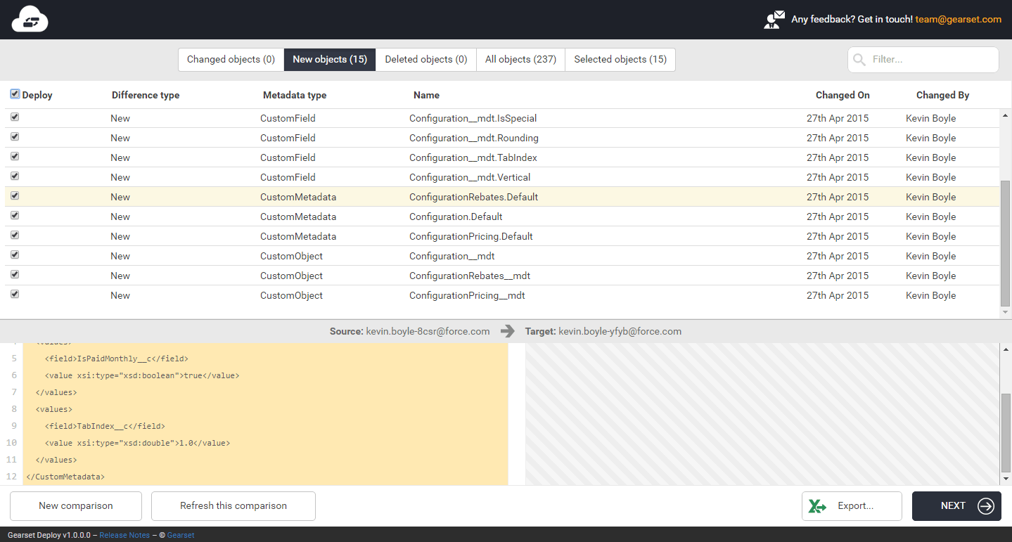 Showing a Custom Metadata Type in Gearset Deploy