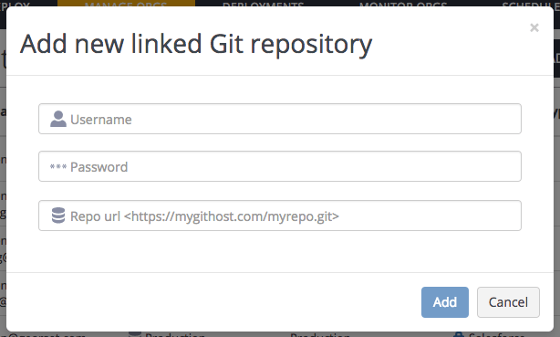 Adding a custom git connection in Gearset