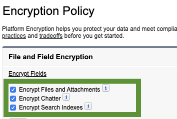 Encryption Policy Settings are shown in the green box highlighted