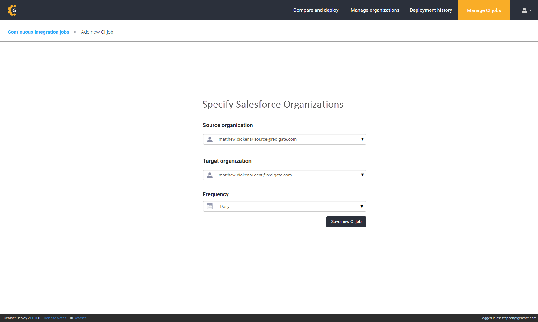 Specify the source and target Salesforce organization and CI job frequency