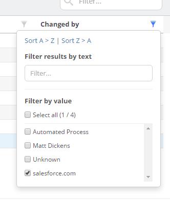 Filtering for only changes by salesforce.com