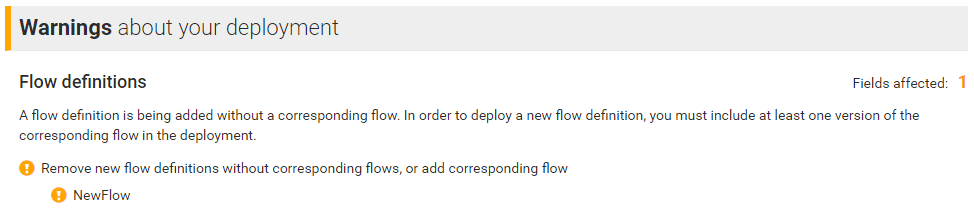 Detecting a new flow definition without a corresponding flow