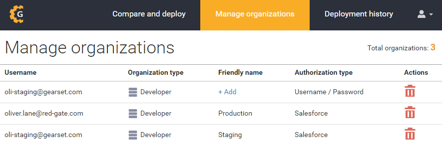 New manage organizations page