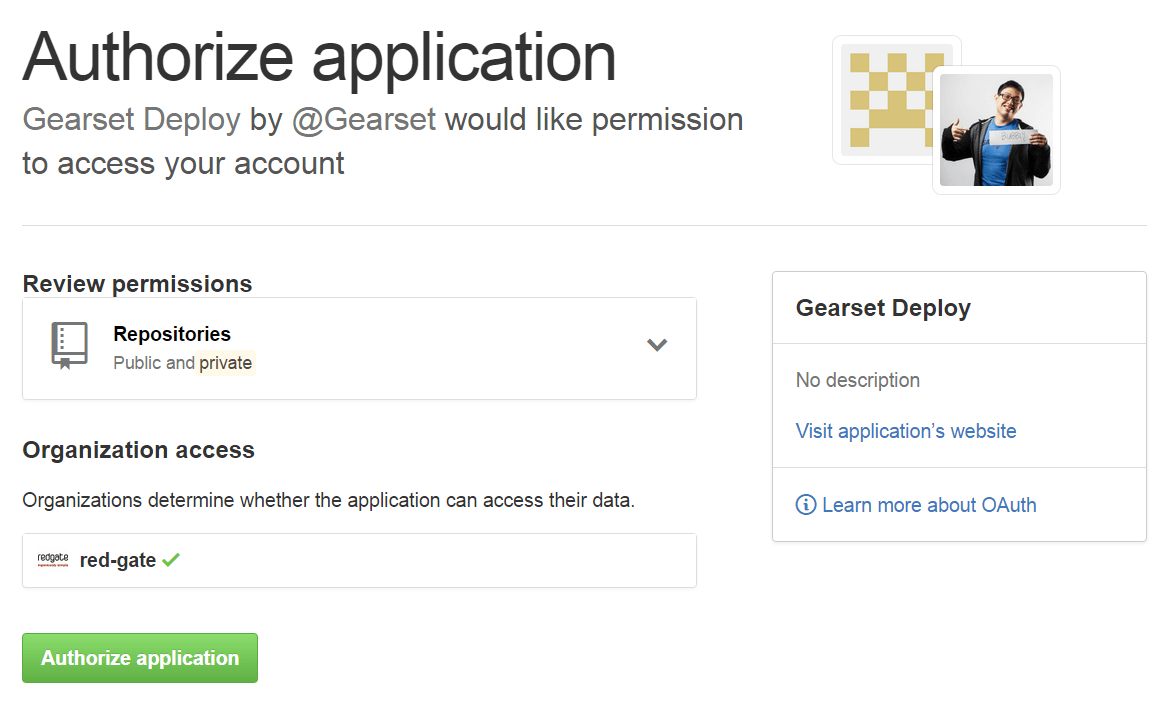 GitHub authorize Gearset Deploy application
