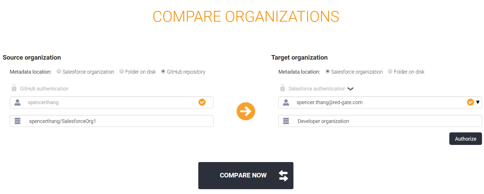 Comparison page with source and target organizations filled