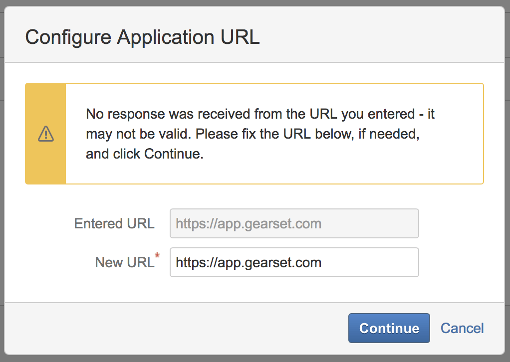 Confirm the application URL and continue