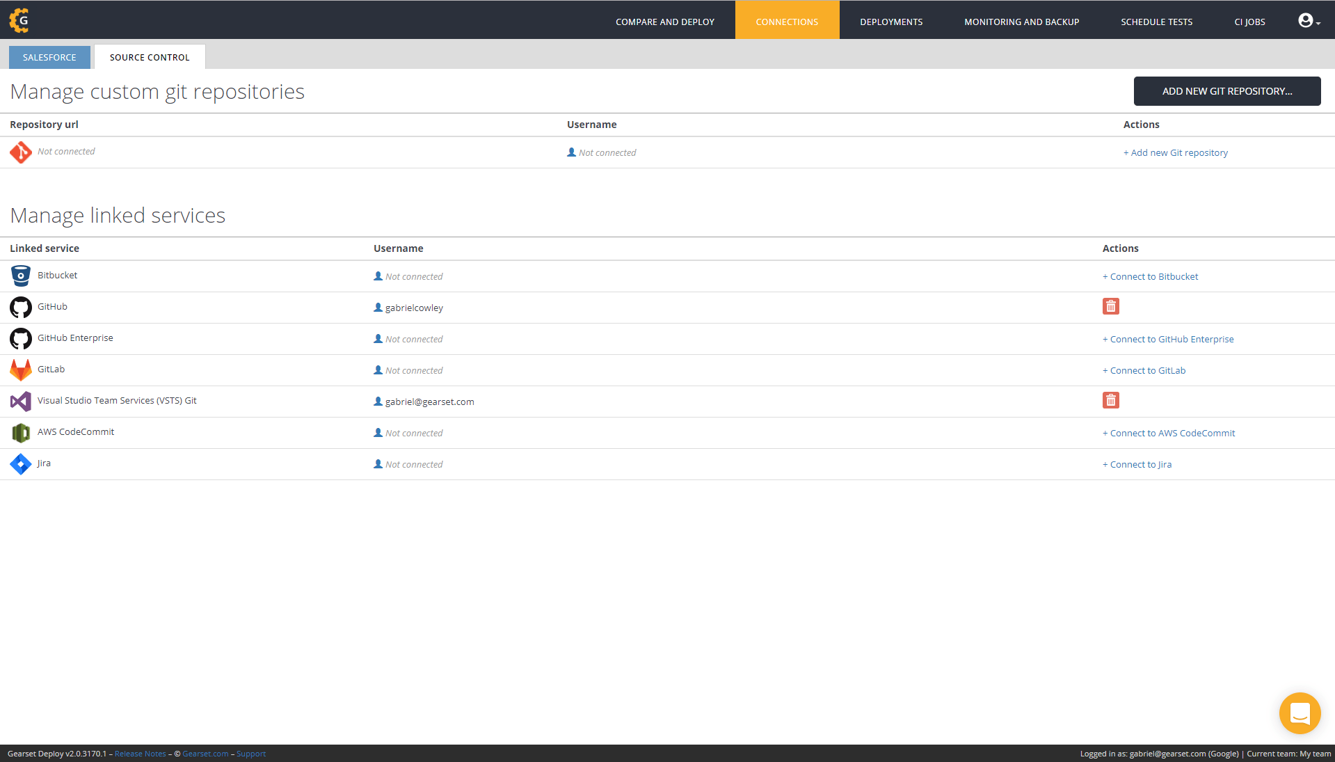 Navigate to the connections page and click connect to Jira