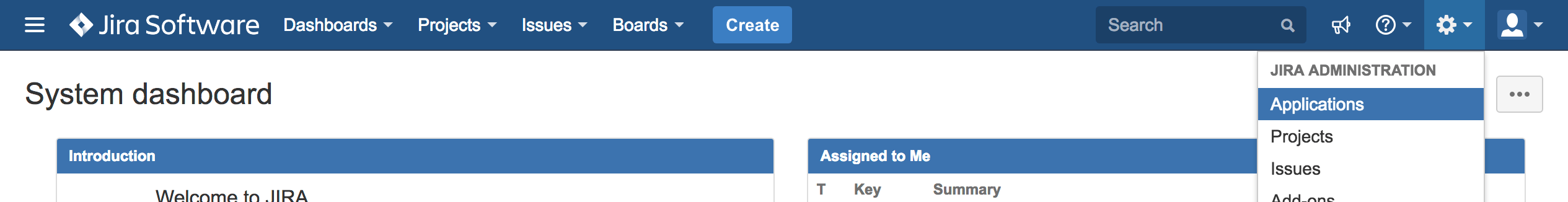 Within your Jira instance, navigate to the applications page