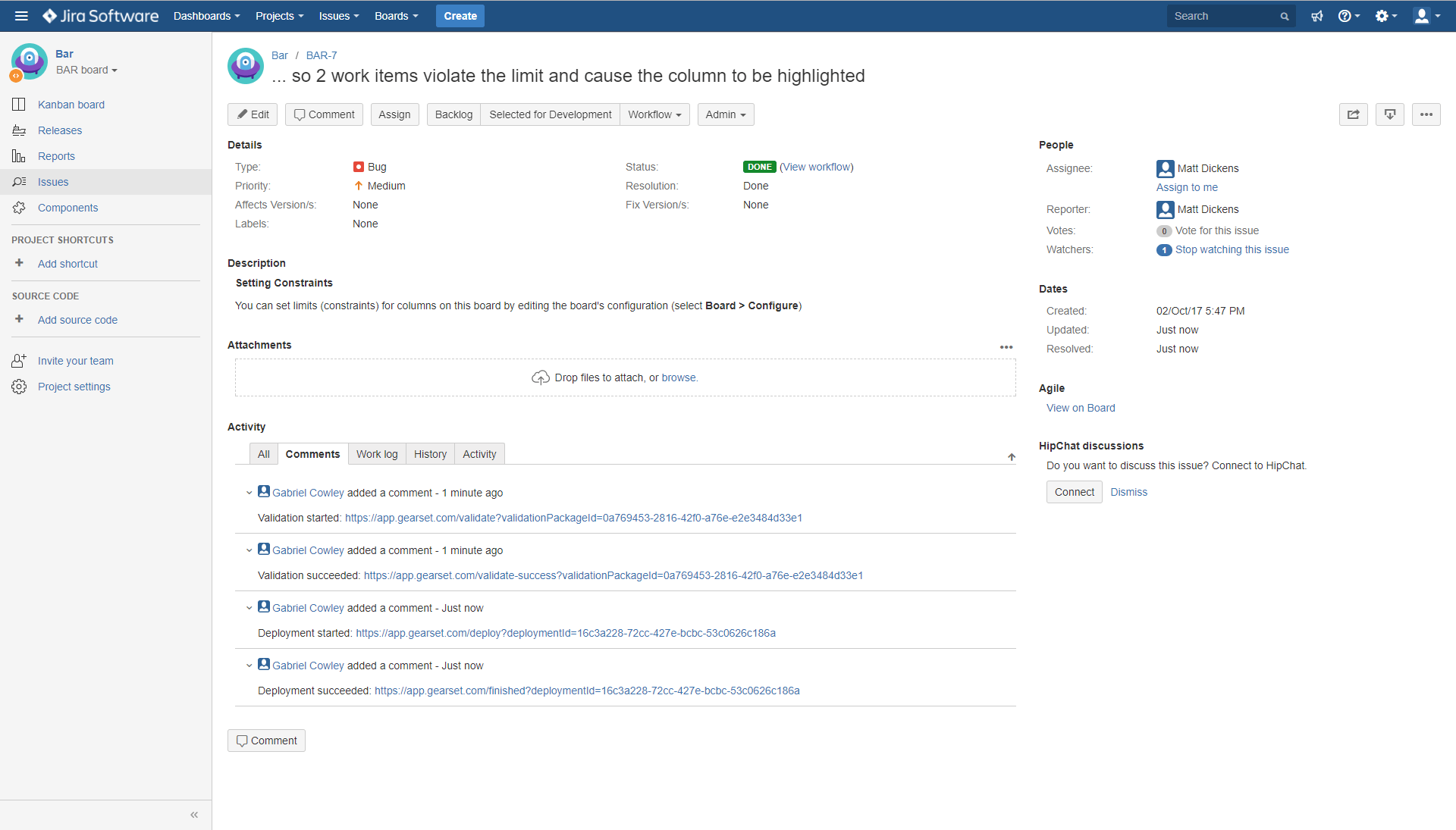 Gearset automatically posts updates to your Jira tickets