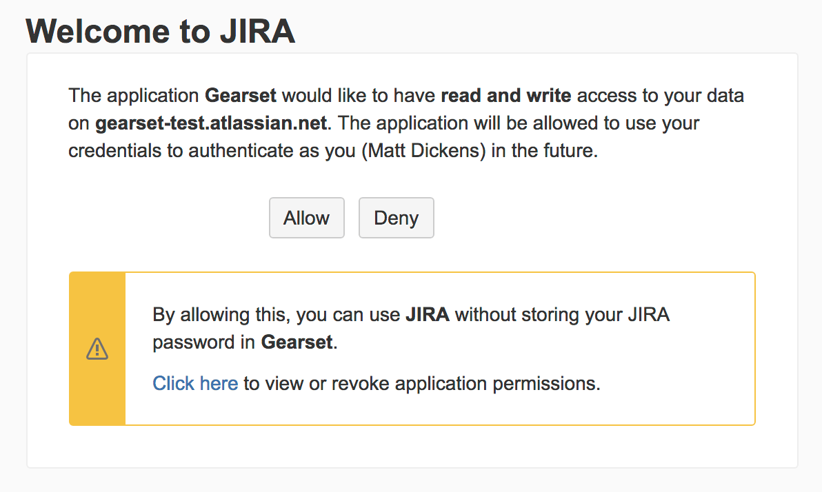 Click allow to let Gearset make changes to your Jira data