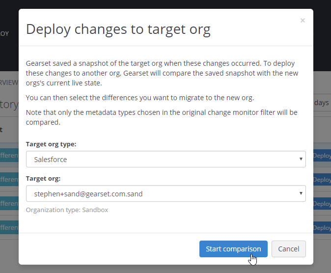 Choose a new target Salesforce org to deploy changes
