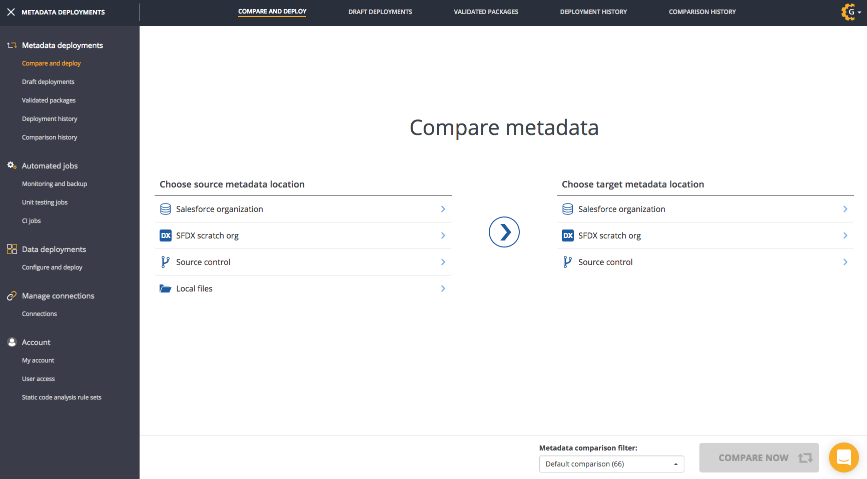 After logging in you'll be taken to the compare and deploy page