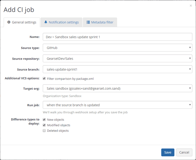 Creating a CI job in Gearset