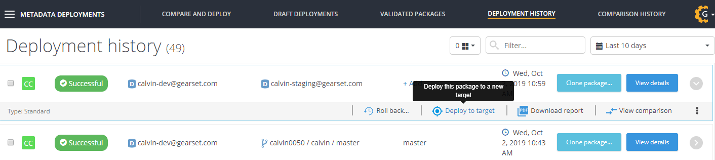 Select the package you want to deploy from your deployment history.