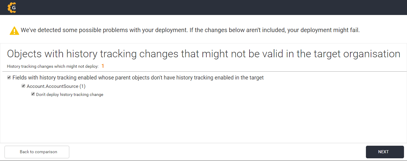 Excluding history tracking changes in your deployment