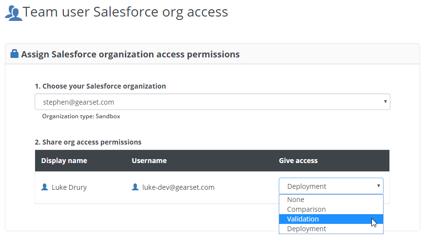 Available team access permissions