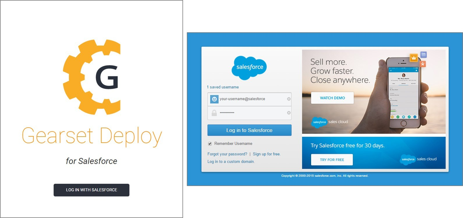 Log into the app with your Salesforce credentials