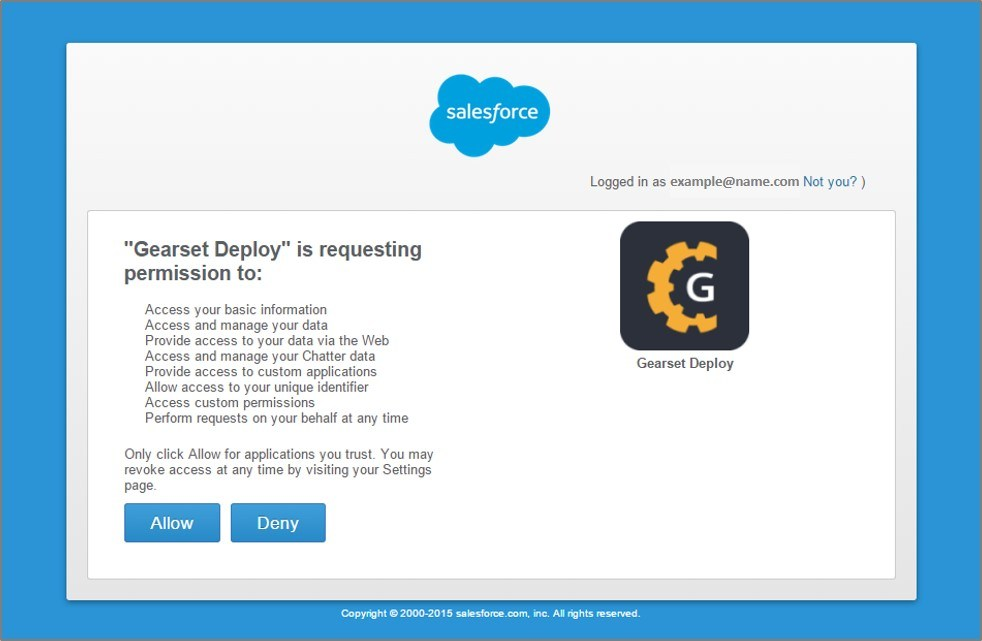 Authorize Gearset Deploy to access your Salesforce account