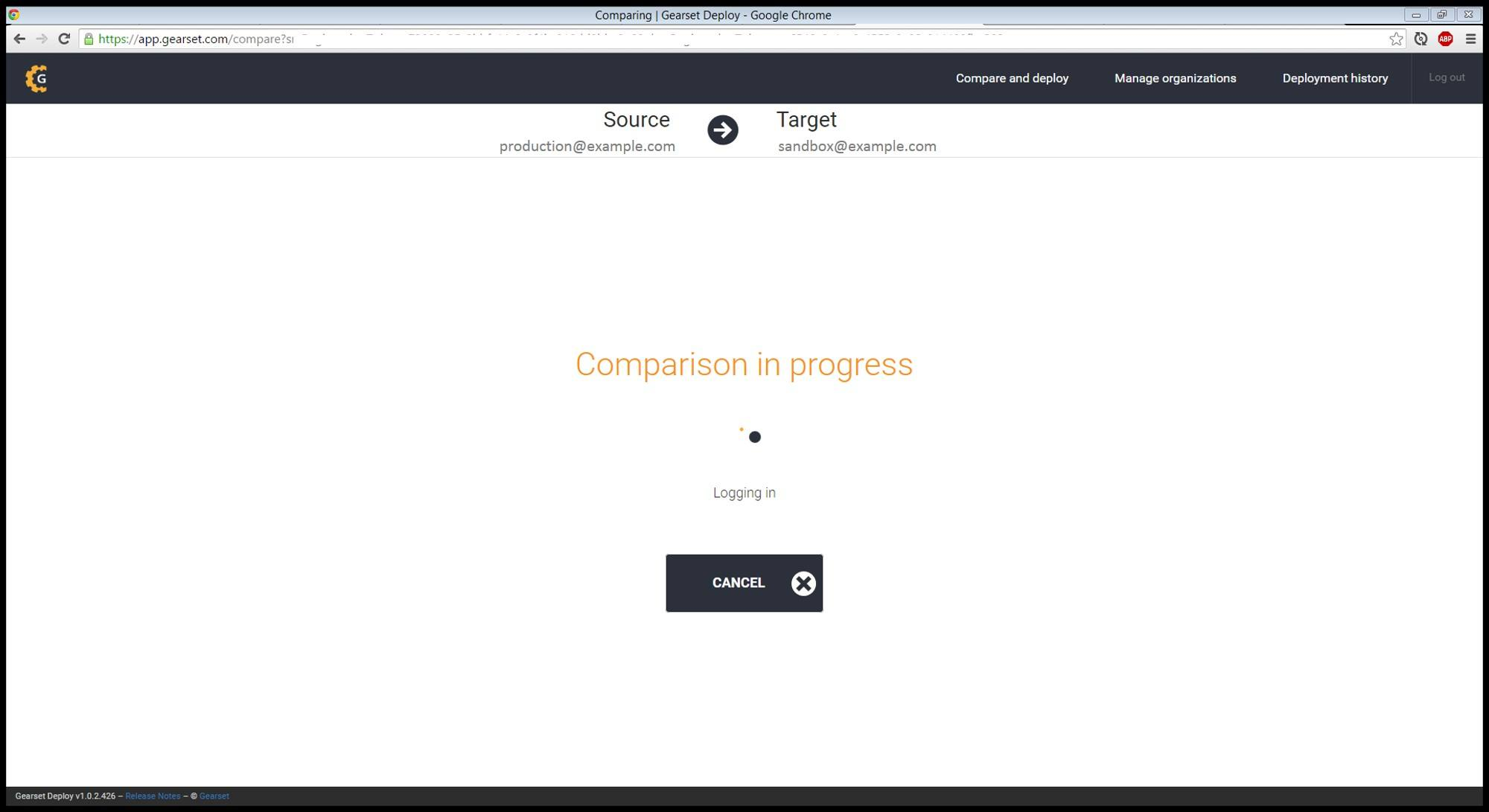 Click compare now to begin the comparison between your orgs